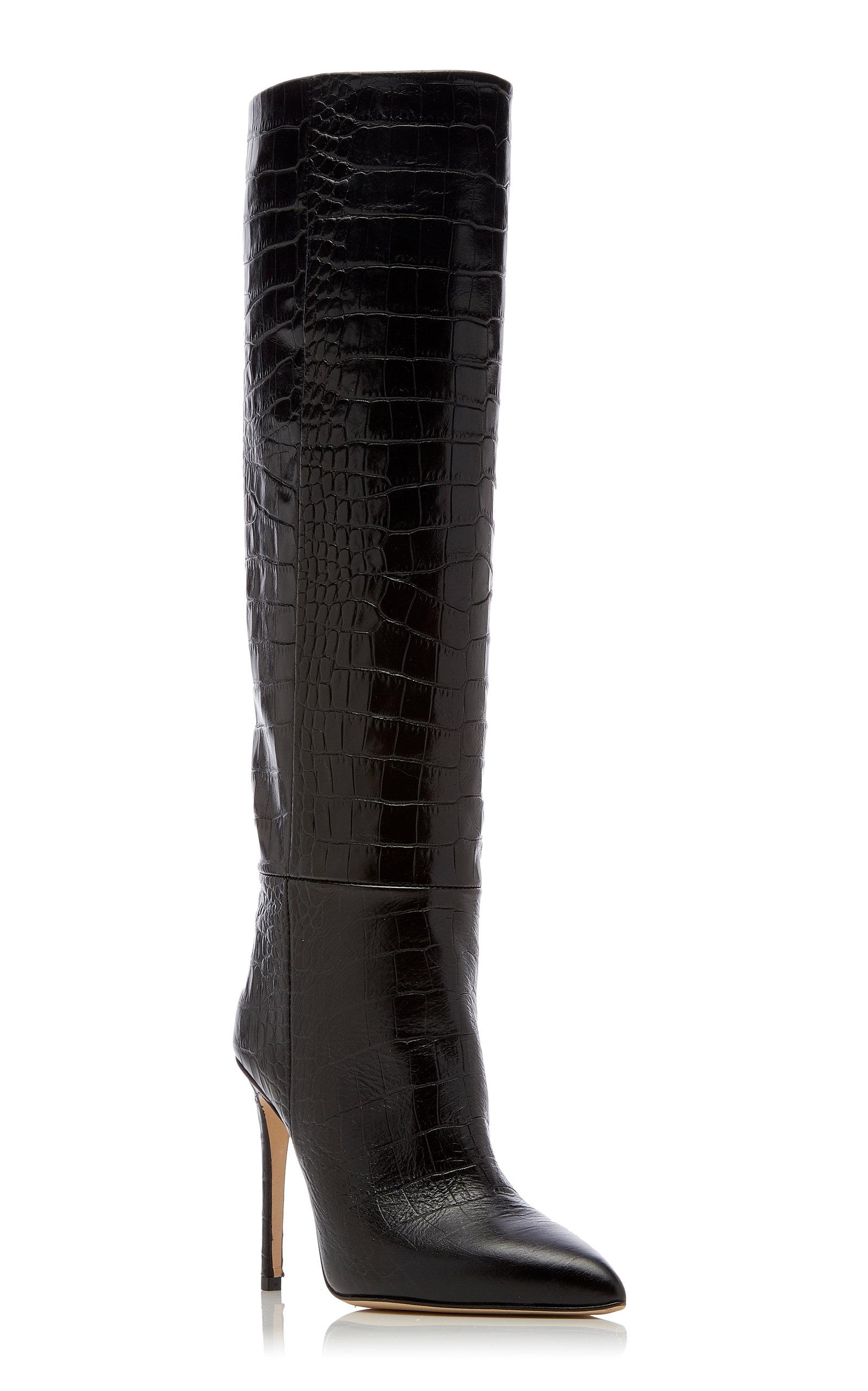 00ea78389 Paris Texas - Croc-embossed black leather knee boots ( 825)
