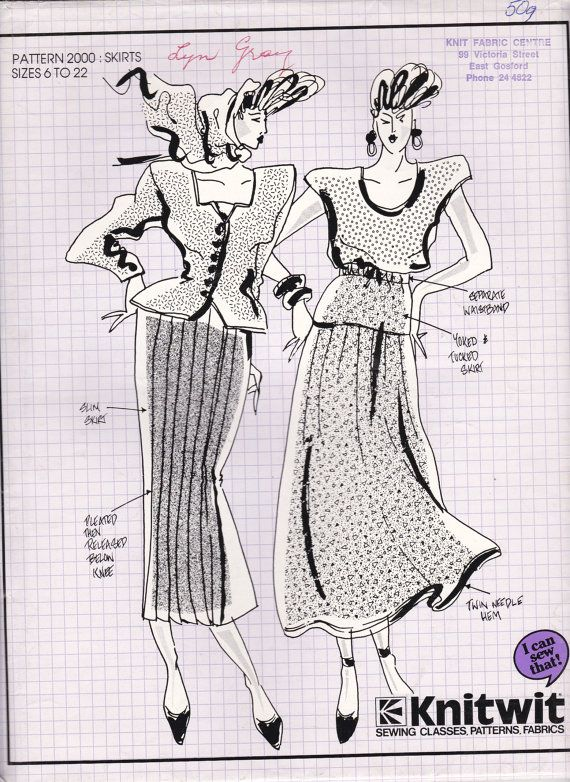 80\'s Sewing Pattern - Knitwit 2000 Designer Skirts Size 6 - 22 ...