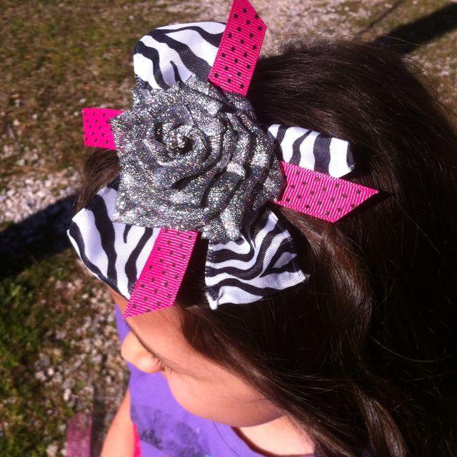 Ribbon rose hair bow!
