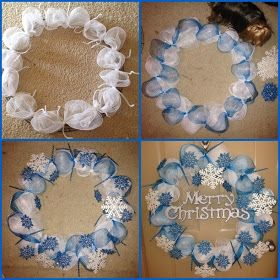 Frozen snowflake deco mesh Christmas wreath
