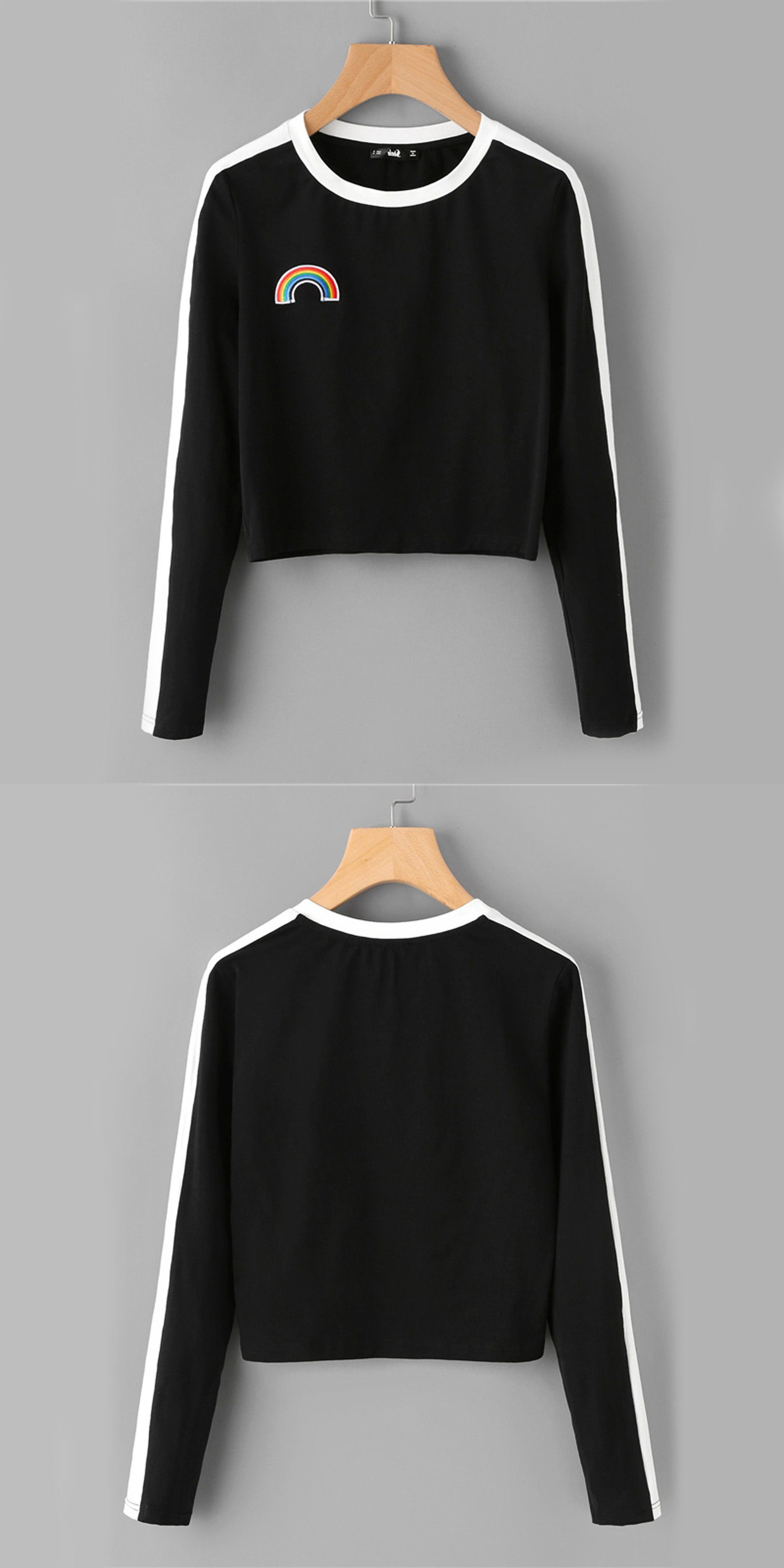 c2fd3fed0c5d65 Casual Outfit Ideas for Teen Girls for School Spring 2018 - Rainbow  Embroidered Crop Top Cropped Sweatshirt Sweater White Ribbing in Black -  Ideas de ...