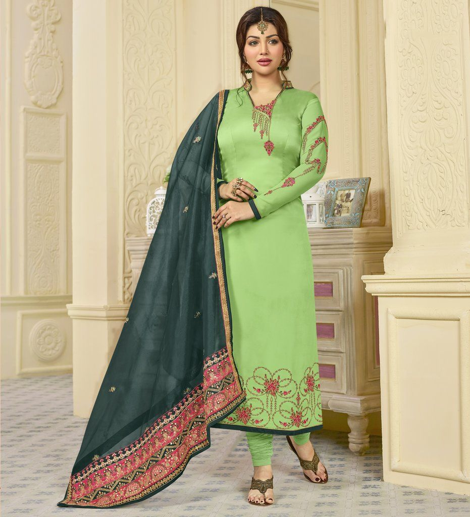 8417d0dc06 Green Georgette Satin Straight Embroidered Salwar Kameez Suit  (Semi-Stitched) #straight #salwar #kameez #suit #embroidered #traditional  #indian #bollywood ...