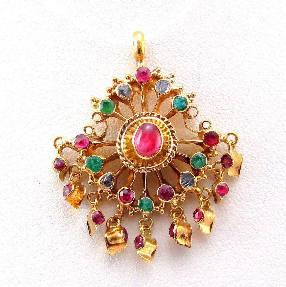 Handmade genuine ruby emeraldu diamond indian ethnic pendant ky