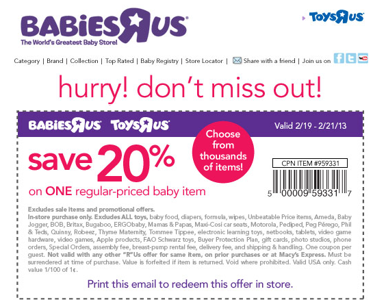 photograph about Toys R Us Coupons in Store Printable named 20% off a one products at Infants R Us Toys R Us coupon by means of