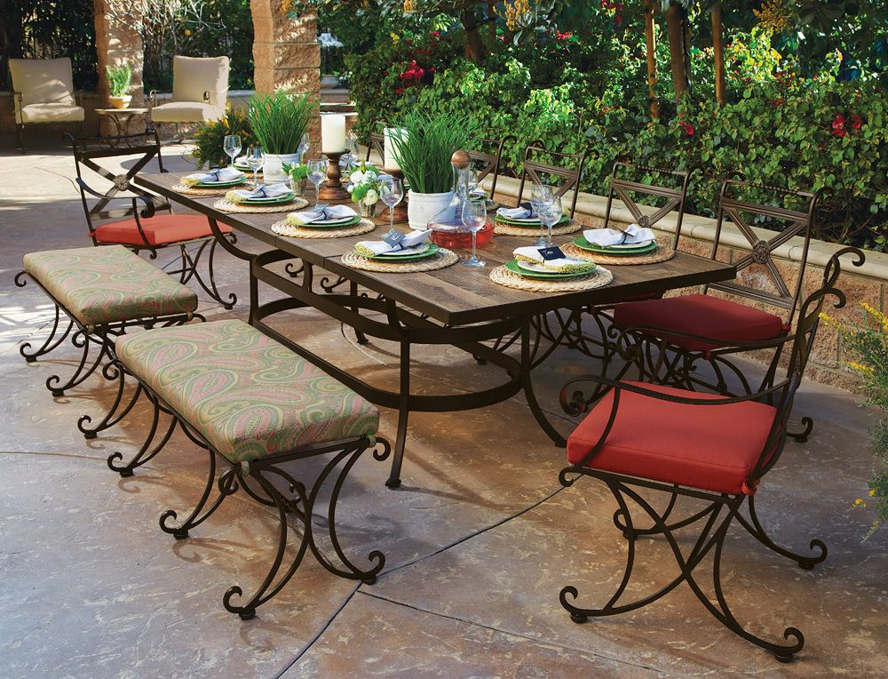 Beautiful Hand Crafted Wrought Iron Patio Dining Set For 10 People