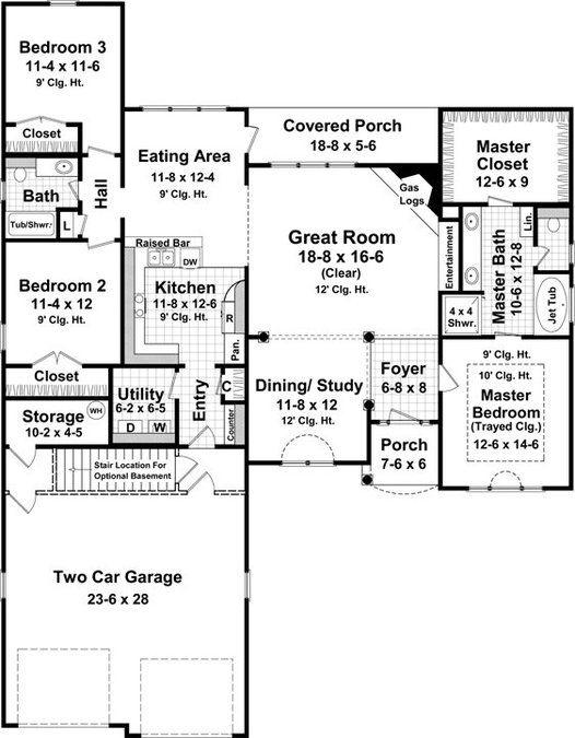 Need 3 car / bigger master - 3 Bedroom, 2 Bath European House Plan