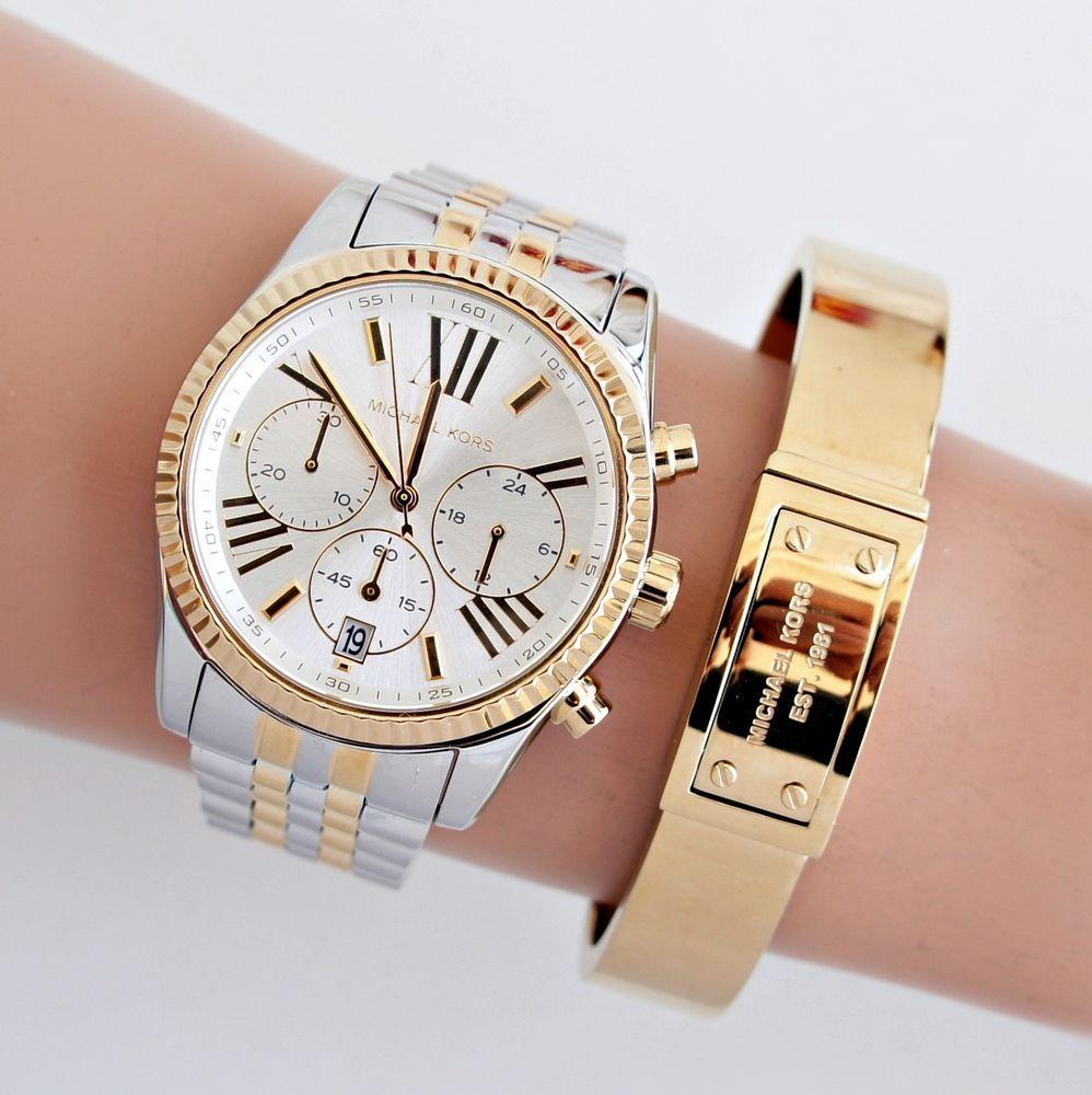 2f8d93105e88 Original Michael Kors Uhr Damenuhr MK5955 Lexington Silber Gold NEU ⌚⌚  watches