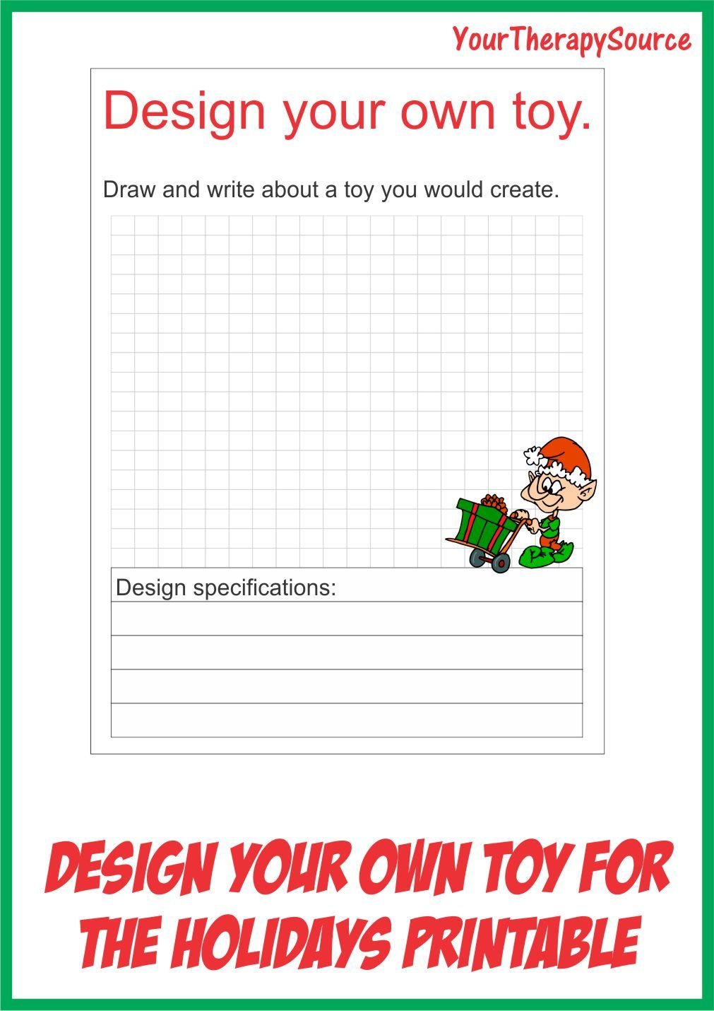 Your Therapy Source: Design a Toy For the Holidays Worksheet ...