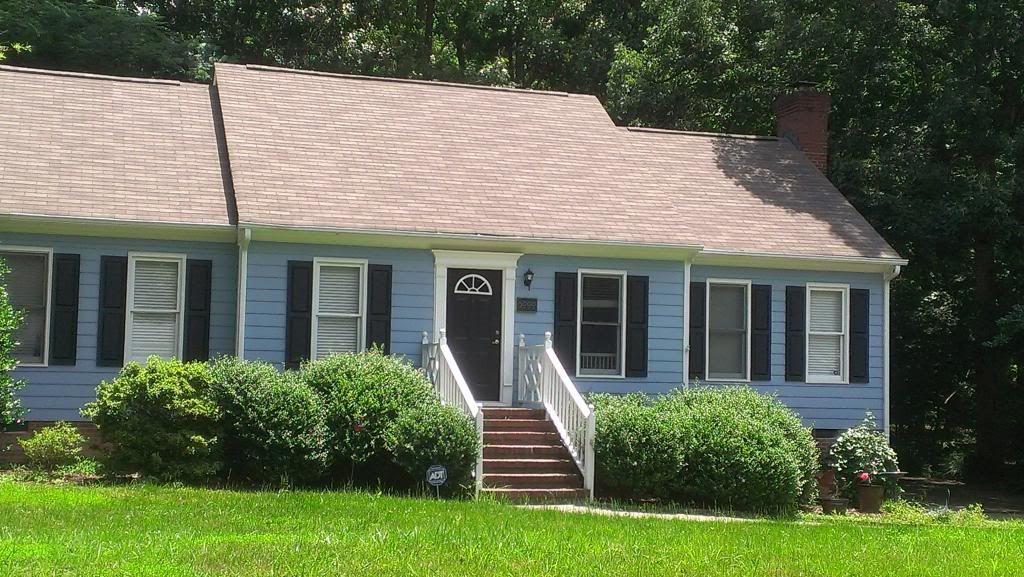Blue house black shutters white trim black door curb - White house with blue trim ...
