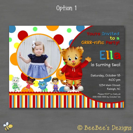 Daniel Tiger Birthday Party Invitation w by BeeBeesDezigns 1stt