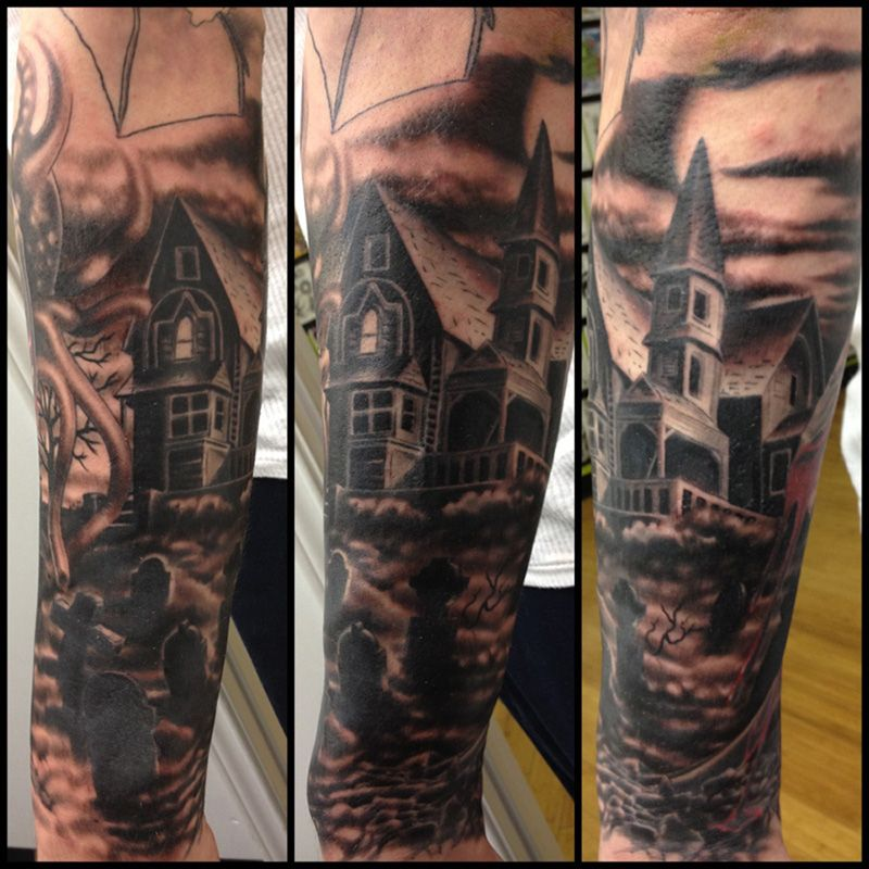 Haunted House Tattoo Haunted House Tattoo Graveyard Tattoo Tombstone Tattoo