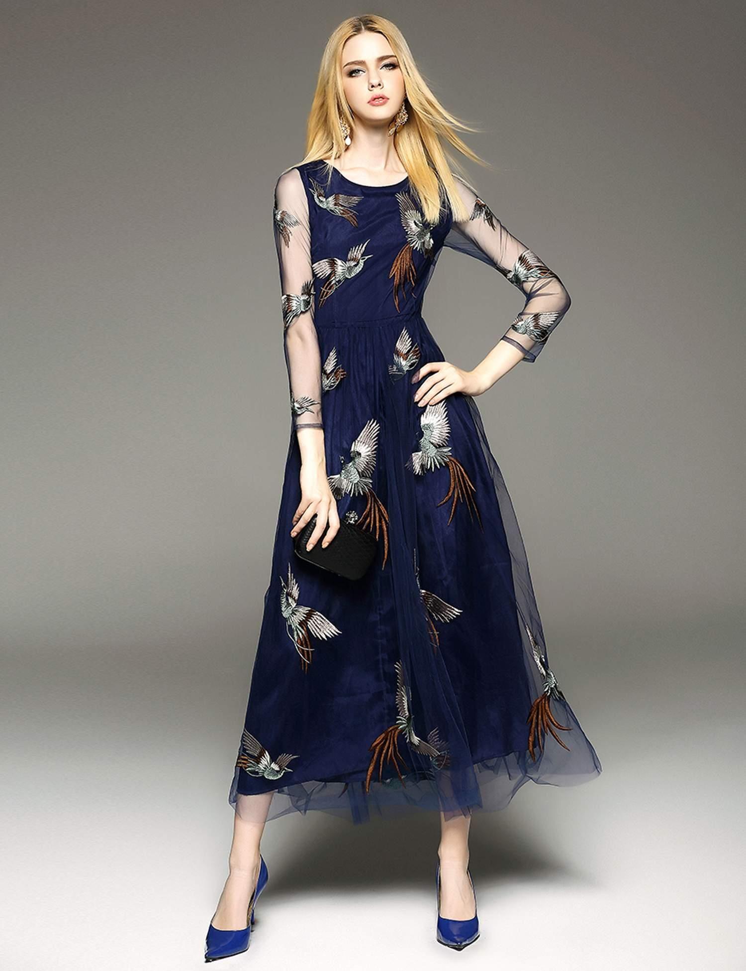 Elenyun round sheer long dress fashion illustrations pinterest