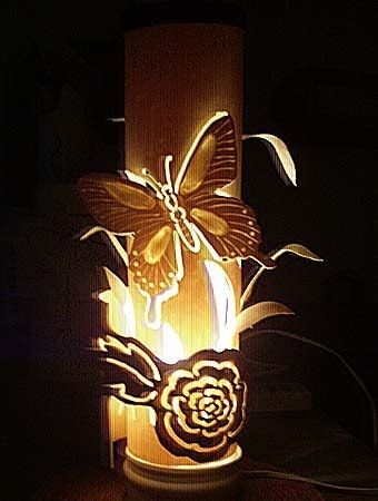 Butterfly lamp with his hands pvc pipe