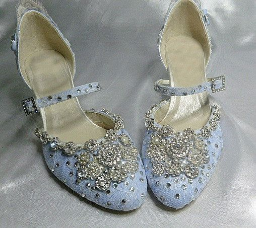 Twinkle  Baby Blue wedding shoes with crystal trim.