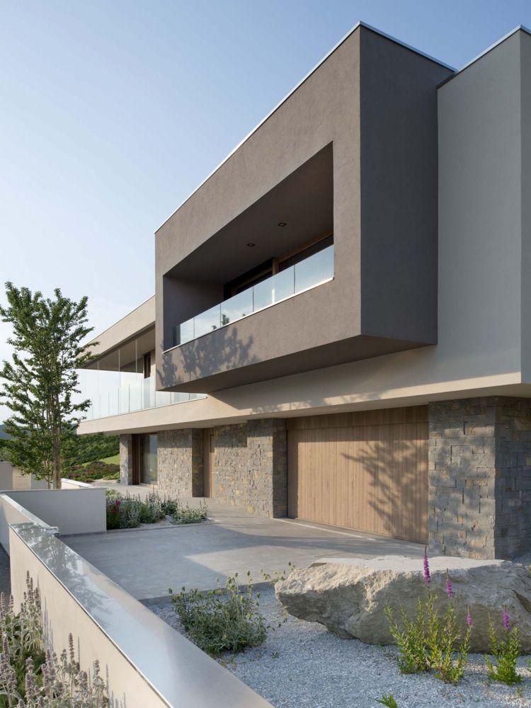 Modernes haus mit Steingarten Moderne architectuur Pinterest