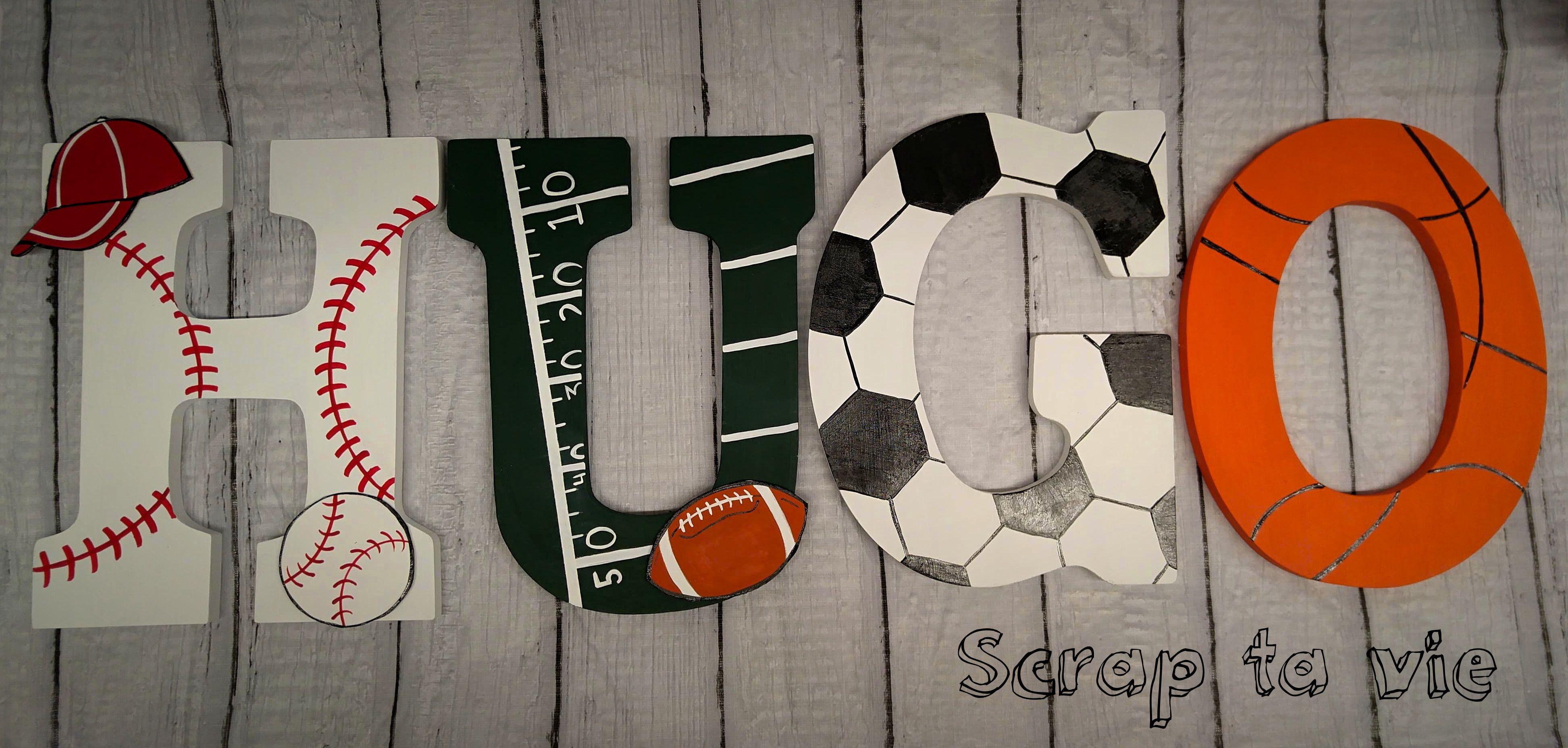 Lettres En Bois Decoratives Sport Sport Wooden Letters Lettres