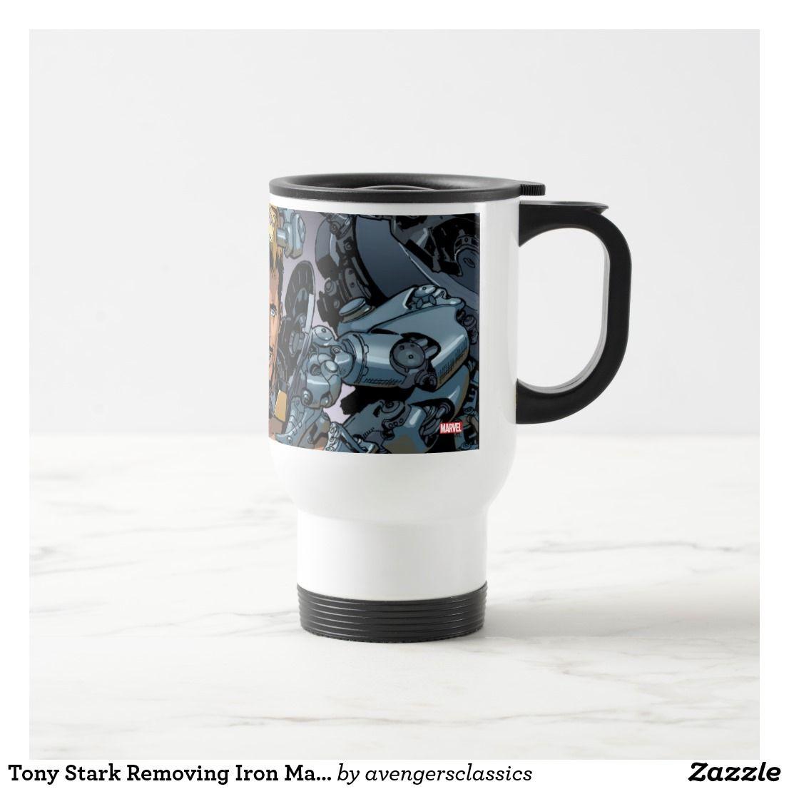 Tony Stark Removing Iron Man Suit Travel Mug