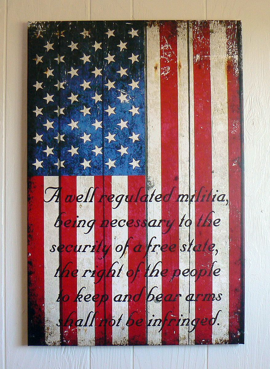 Pics photos desk with flag in background photographic print by - American Flag 2nd Amendment Vertical Print On Canvas 16