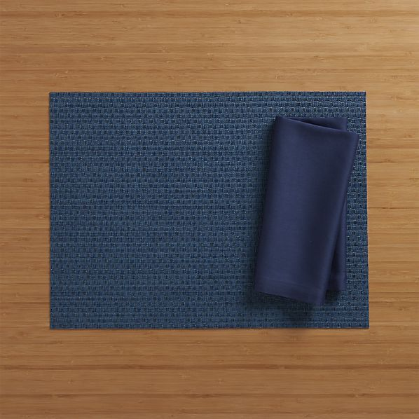 Chilewich Purl Blue Vinyl Placemat Crate And Barrel Blue Vinyl Woven Placemats Placemats