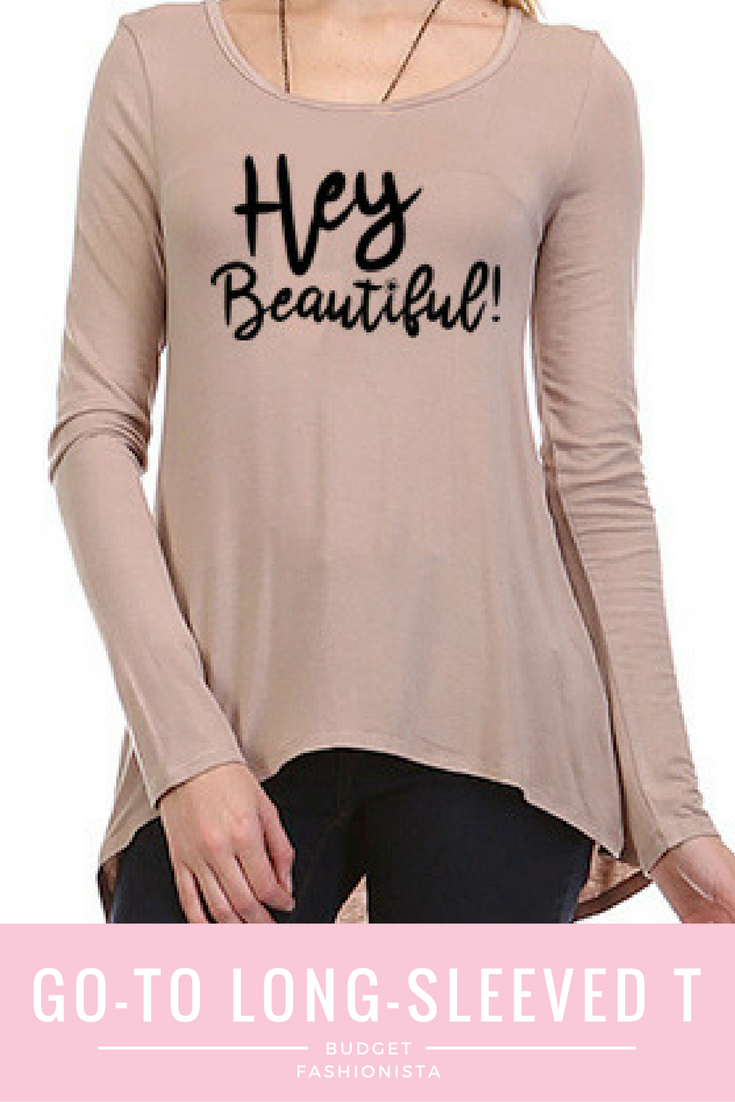 This flowy, feminine, A-line long-sleeved, light taupe top is the perfect complement to your favorite jeans & leggings. via @fabulousforless
