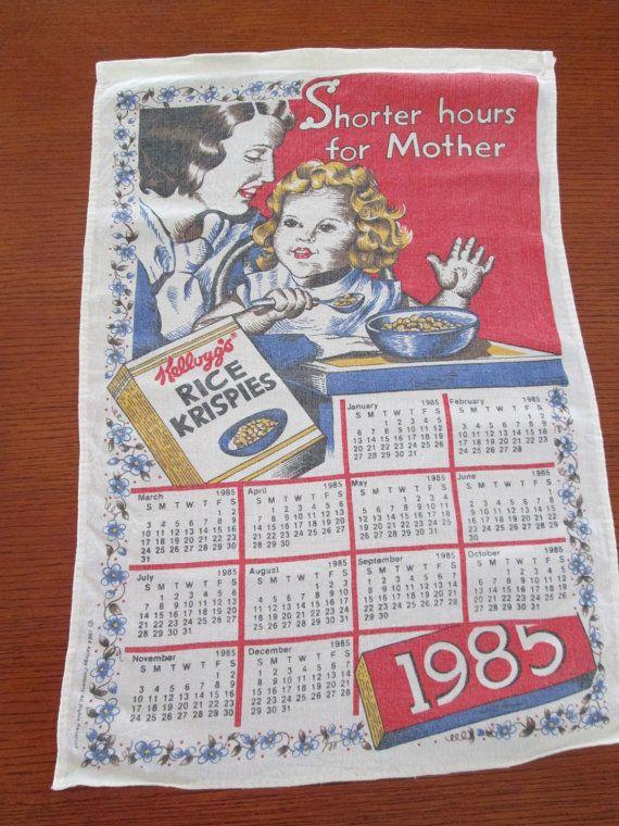 Souvenir Hand Towel 1985 Calendar Wall Hanging By Antiquesplus