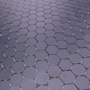 mosaique sol et mur hexagone bleu mat