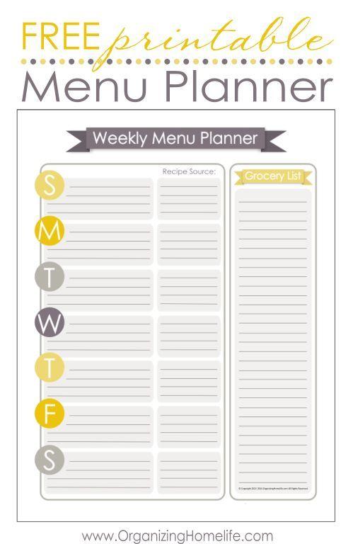 Free Printable Meal Planner Weekly Menu Planners Meal Planner