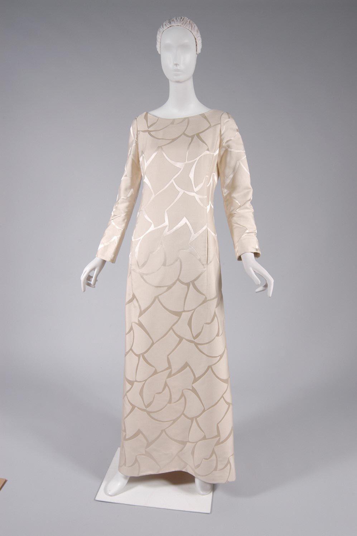 Ensemble evening coat and dress silk damask mink james galanos