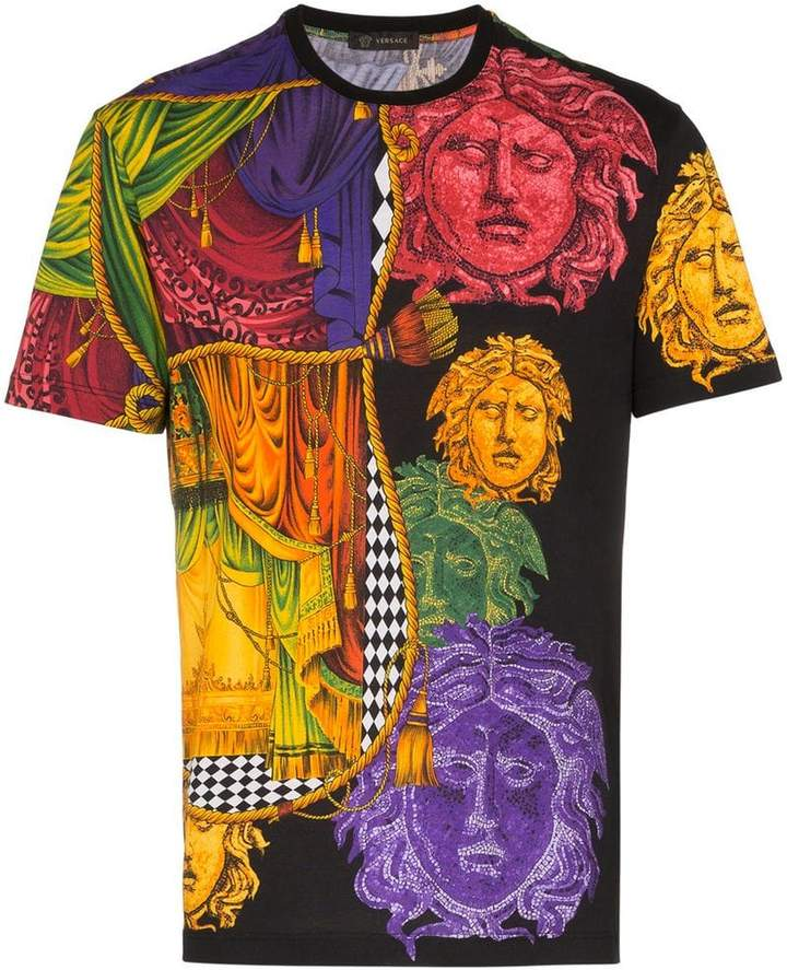 1909165d Versace Medusa Sipario print cotton t shirt | Products | Versace ...