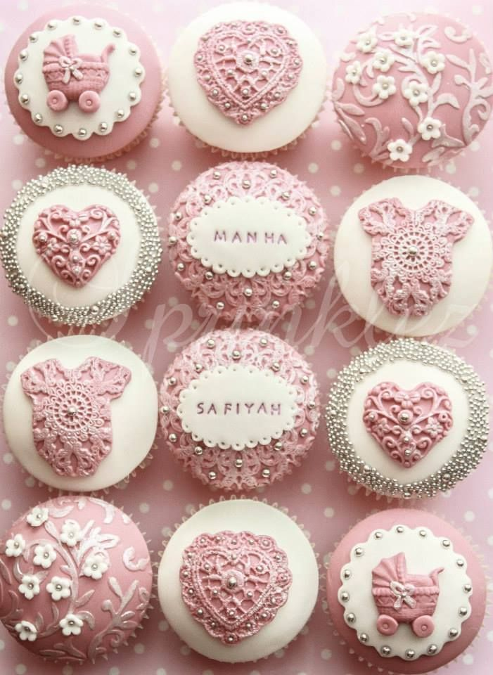 Baby Shower Cupcakes · Pink And White Cupcakes