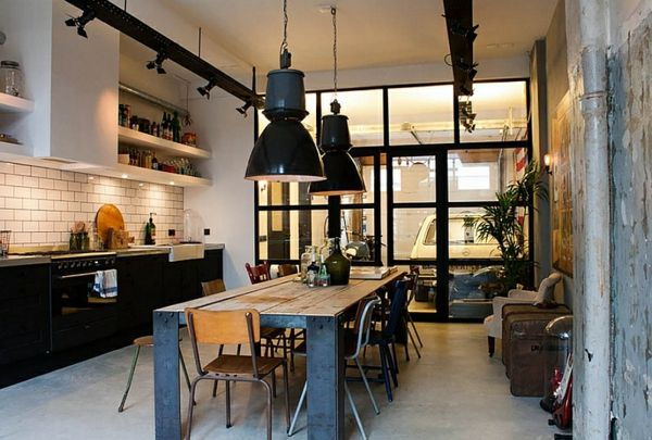 Toll Große Pendelleuchten Im Esszimmer U2013 Moderne Hängelampen   Große  Pendelleuchten Im Esszimmer Industriell Eklektisch Küche