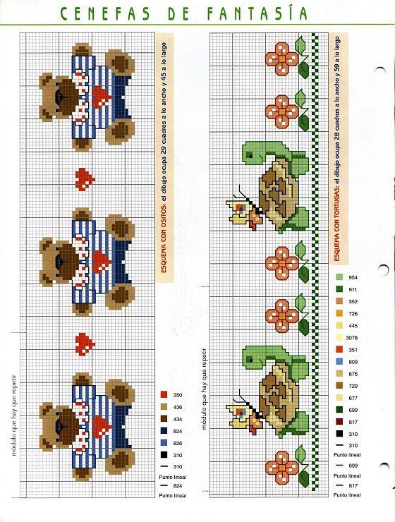 Cross-stitch Teddy Bear & Turtles...   Ositos y tortuguitas