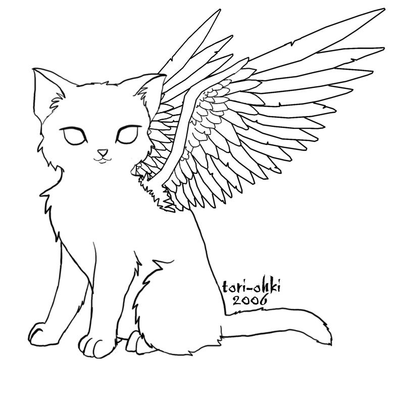 For to color, Angel-cat by Tori-Ohki.deviantart.com | Cat tattoo ...