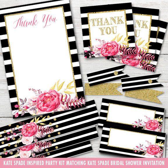 Inspired Kate Spade Bridal Shower Party Kit Printable Kate Spade