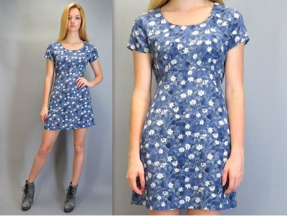 a5c8a5d64134 Vintage 90s Short Babydoll Mini Dress A-Line Short Sleeve Empire Waist  Clueless Ditsy Blue White Floral Print Soft Grunge Skater by  BlueFridayVintage