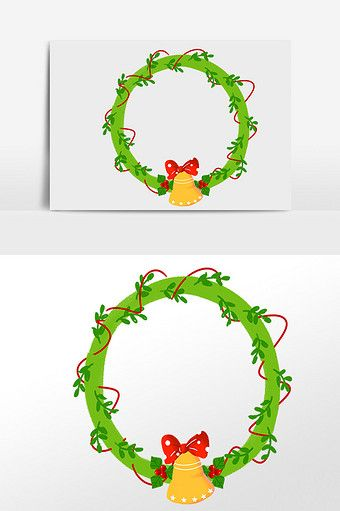 Photo of Hand drawn christmas green wreath illustration element | Graphic Elements PSD Free Download – Pikbest