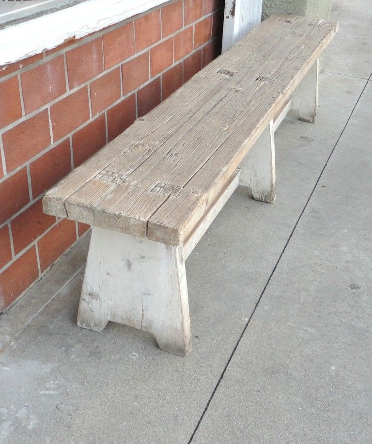 19thc Original White Painted Plank Wood Farm Bench In 2019