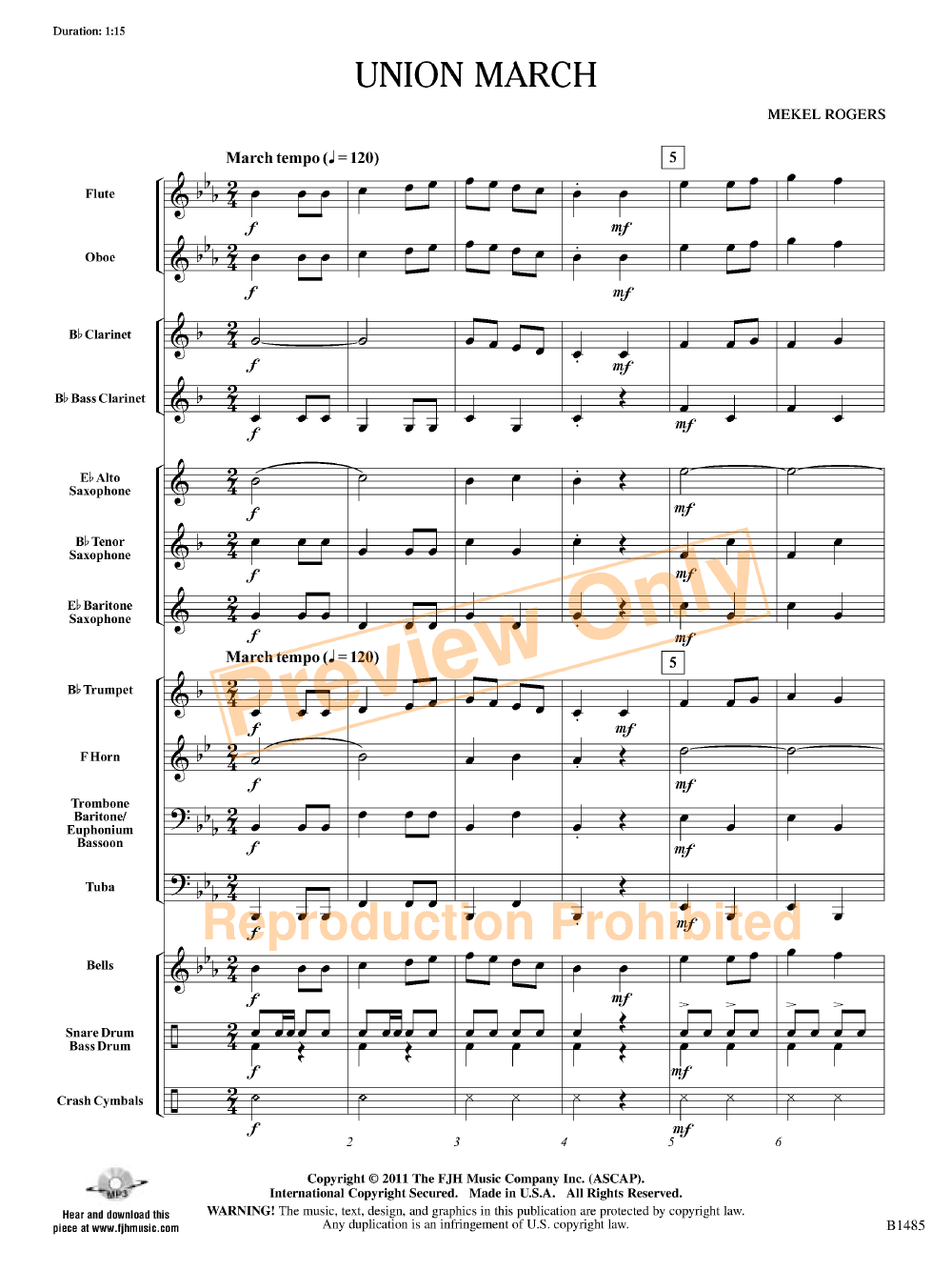 Union March By Mekel Rogers Drum And Bass Bass Clarinet Sheet Music