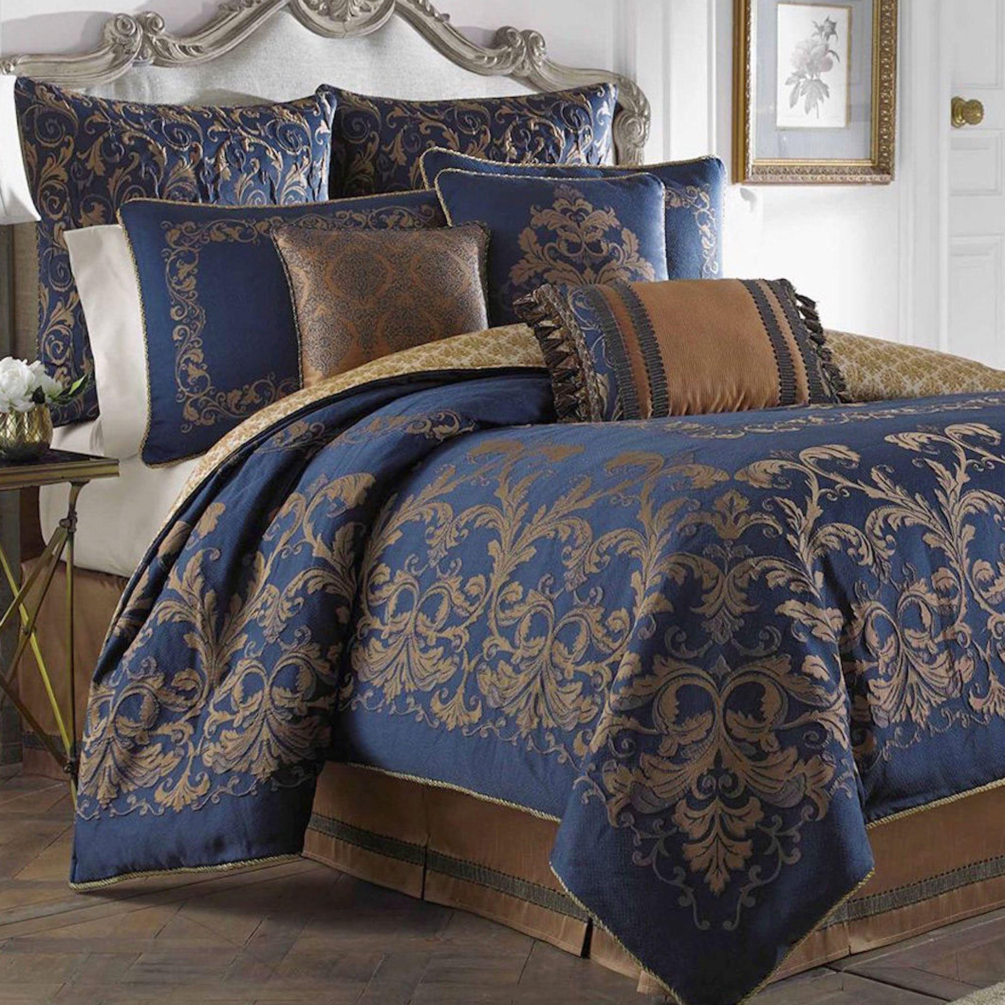 Monroe Midnight Blue Comforter Bedding By Croscill Bedroom