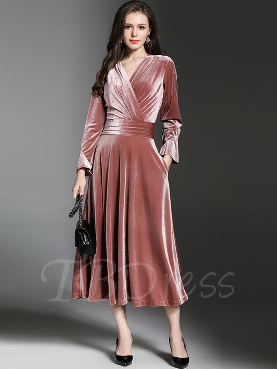 Velvet plain long sleeve womens maxi dress maxi dresses dress