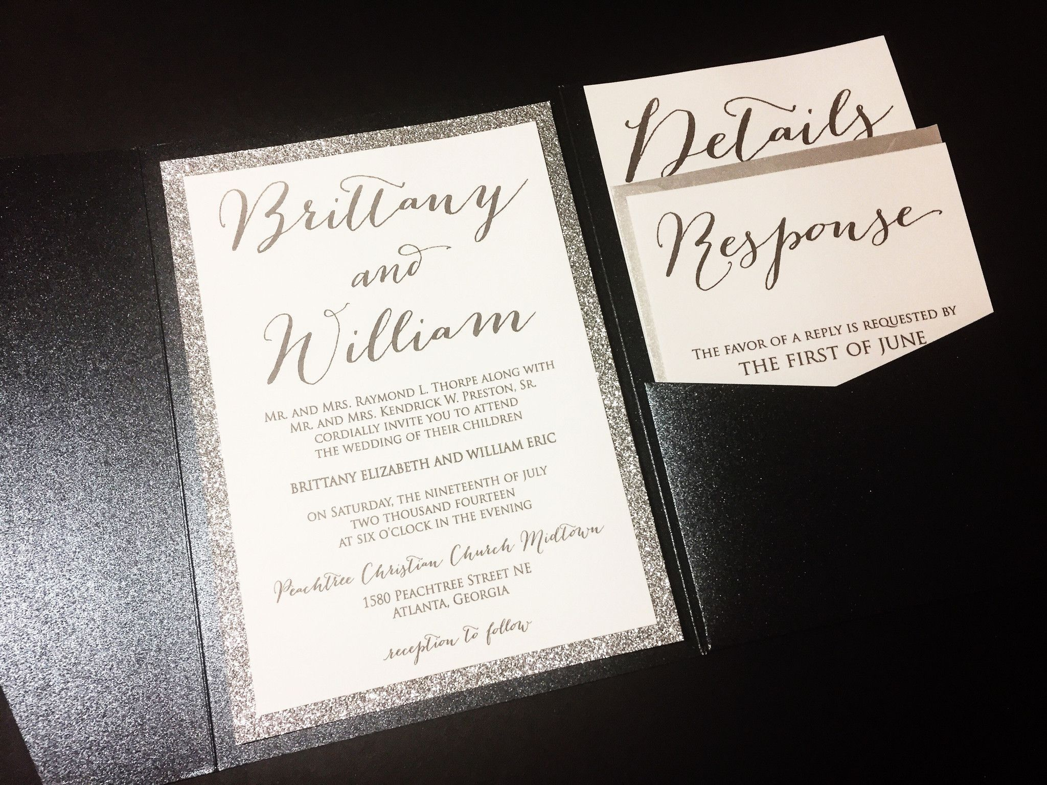 Silver Glitter Wedding Invitation Luxury Pocketfold Wedding