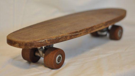 Vintage Handmade Wooden Skateboard 1950s Retro Comet Wheels