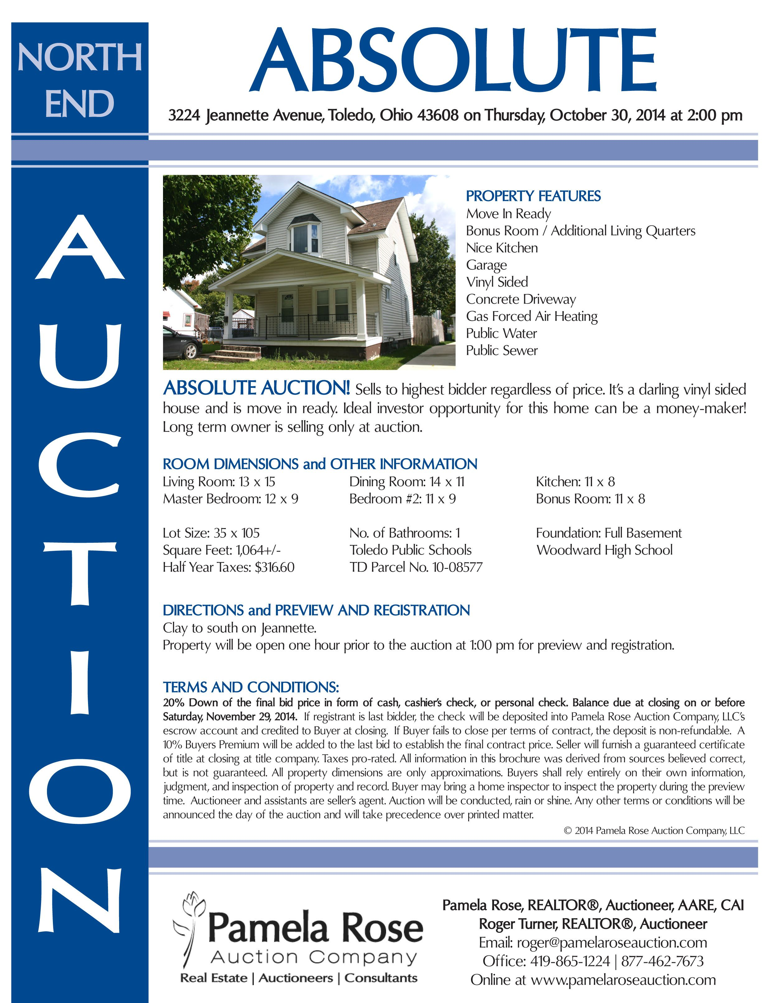 Absolute Auction in North Toledo at 3224 Avenue