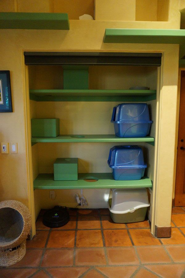 Potty Closet Holds Letterboxes Food And Water, And Cat Shelves And Beds.  Copy For Office Closet