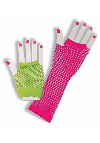 80s Neon Lace Gloves Orange ***