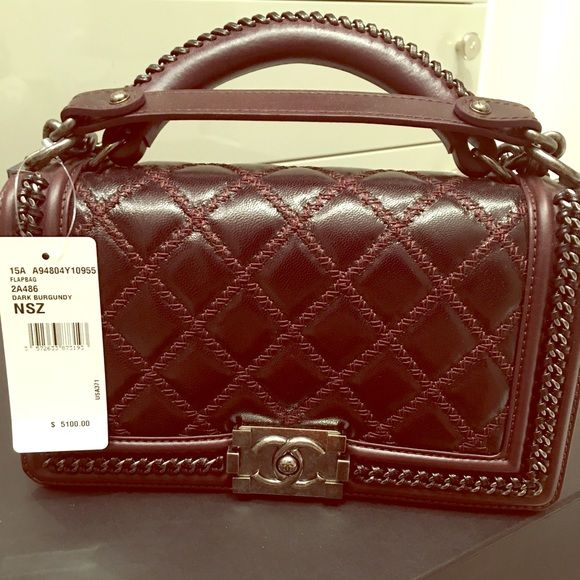 2c55c73bafdfd1 CHANEL BNIB flap bag with handle and silver SOLD!! Cross body gorgeous  brand new Chanel in dark burgundy and cross ststitching with silver  accessorized ...