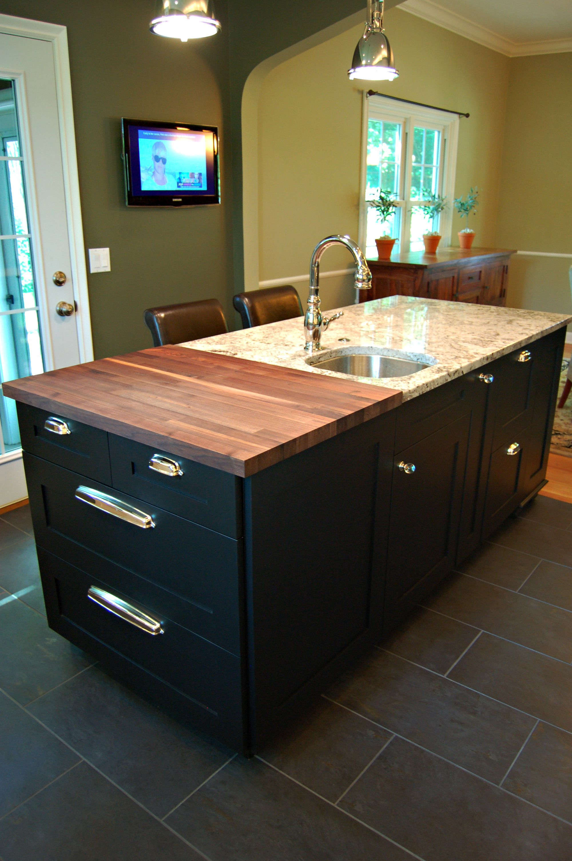 Walnut Butcher Block Island With Black Painted Cabinets And