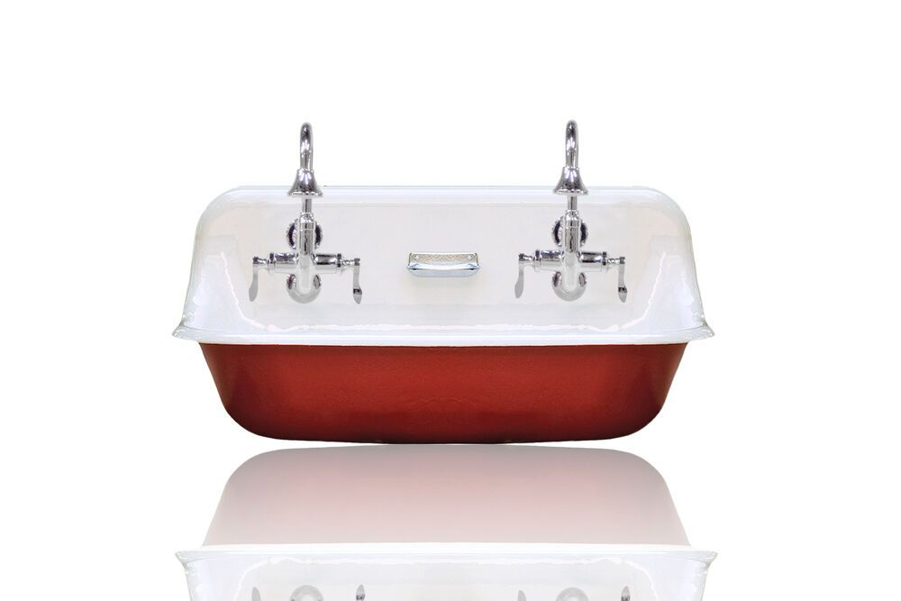 Details About New Kohler Brockway High Back 36 Farm Sink Cast Iron Porcelain Trough Sink Red Farm Sink Trough Sink Tub And Shower Faucets
