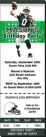 Party Ticket Invitations New York Jets Colored Football Party Ticket Invitation Set Of 12 .