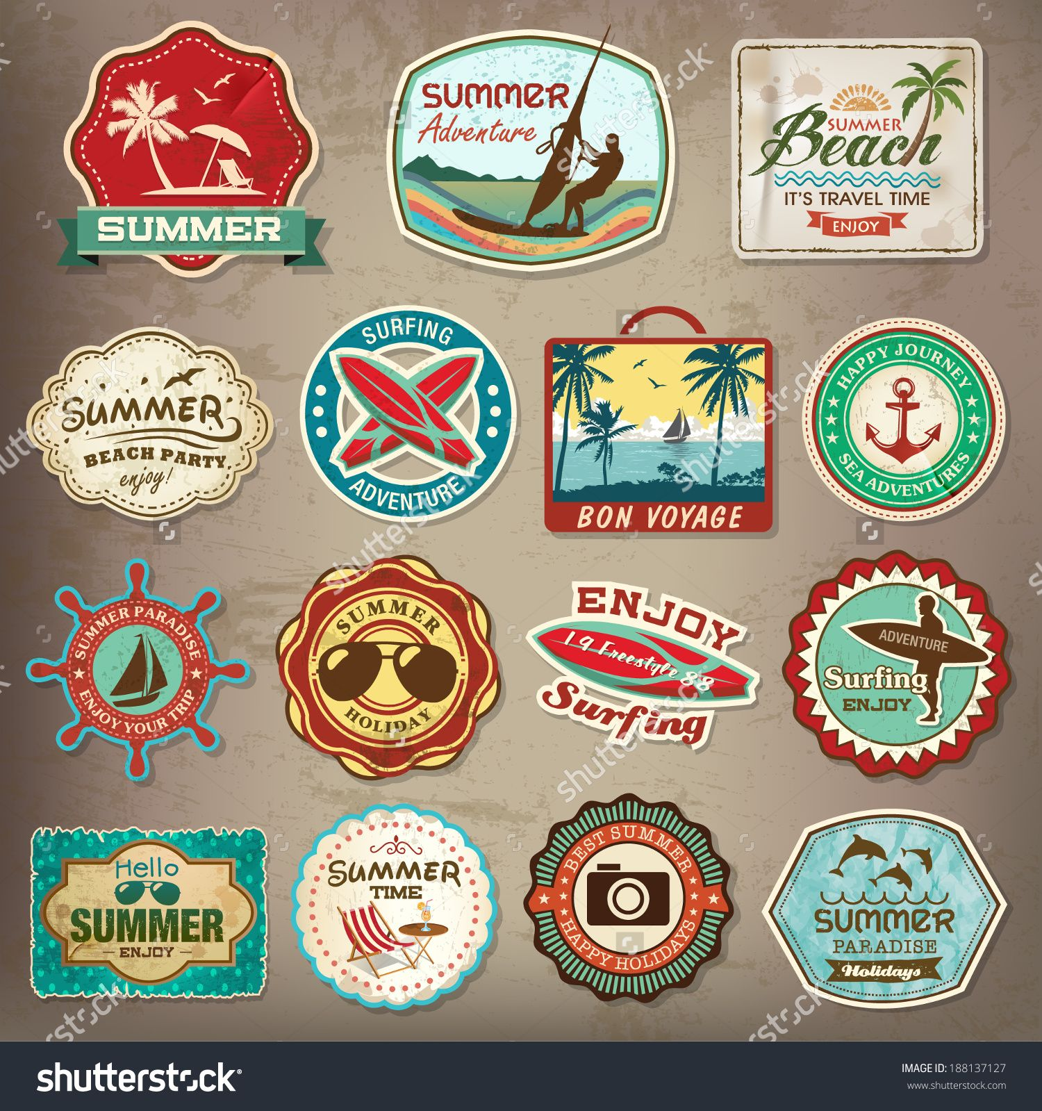 Collection of vintage retro grunge summer labels labels badges and icons stock vector illustration 188137127 shutterstock
